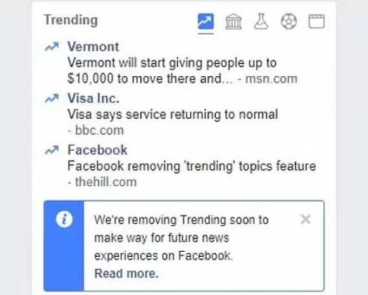 Facebook Shutting Down Trending Feature for News